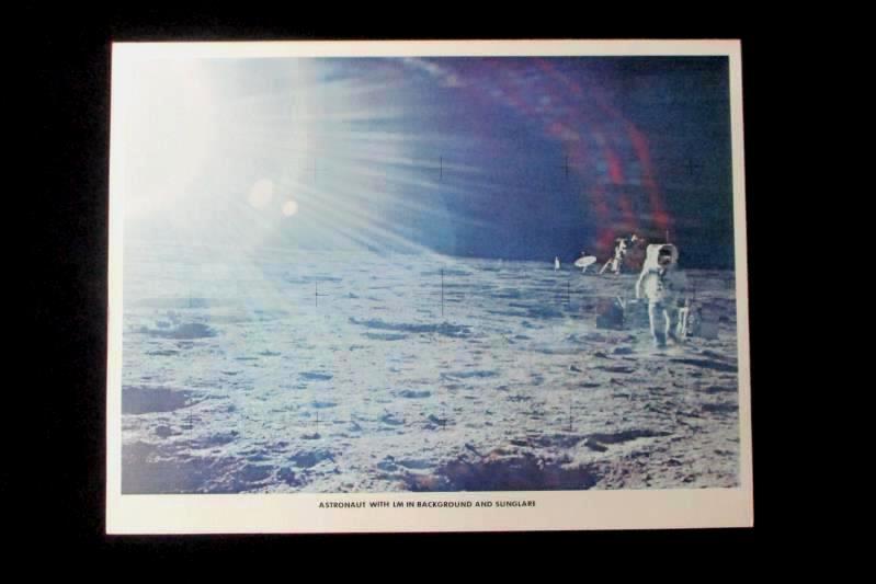 NASA Apollo 12 Historical Print Astronaut With LM Background Sunglare 8.5x11.5