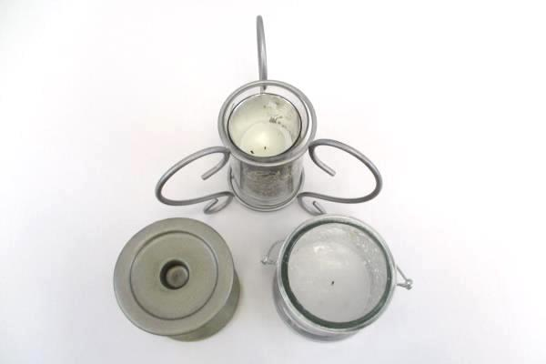 3 DIY Glass Silver Candles Candle Holders Paint Bucket Scroll Design Pedestal