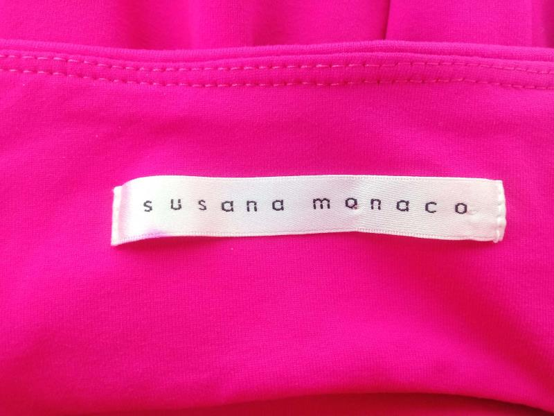 Susana Monaco Stretch Dress Strapless Fit & Flare Hot Pink Open Back Size XS