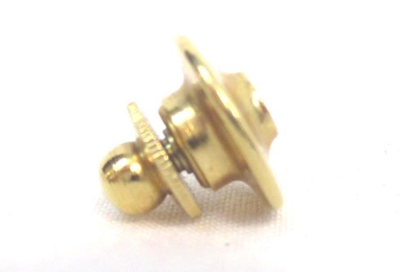 Vintage Terryberry ALS Lapel Pin 24K Gold Black Door Logo Red Jewel