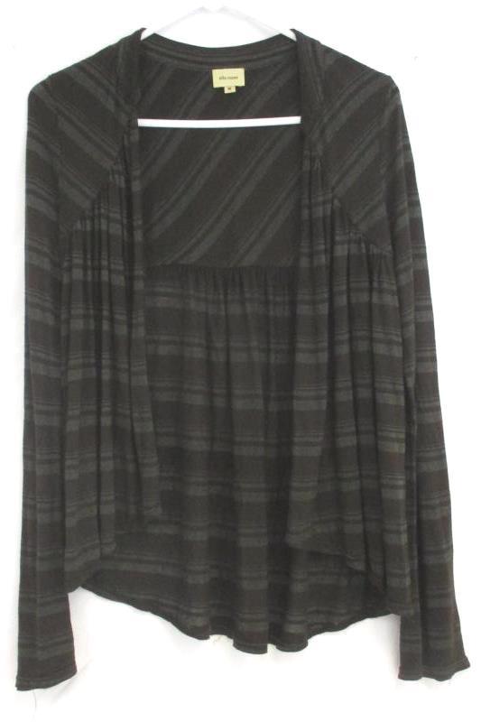 Ella Moss Women's Open Front Cardigan Brown Metallic Striped Size Medium