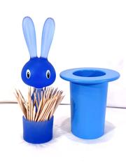 Di Alessi Magic Bunny Toothpick Holder Container Blue Italy Rabbit Top Hat ASGI6