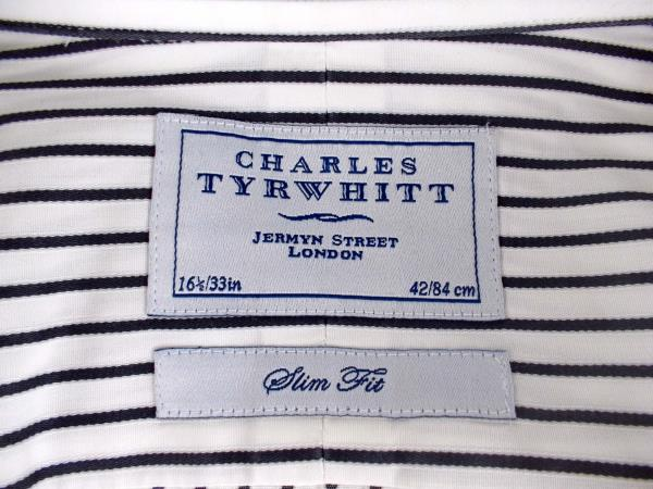 CHARLES TYRWHITT Dress Shirt Slim Fit Spread Collar Striped White Twill Sz 16.5