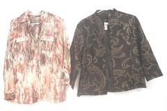 Lot of 2 Chico's Women's Tops Jacket Brown Embroidered Button Up Blouse Size 1