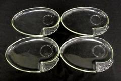 Lot of 4 Vintage Federal Glass Snack Serving Trays Partial Swirl Oval Shaped