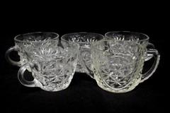 Lot of 5 Vintage Anchor Hocking Glass Punch Cups Arlington Pattern Double Handle