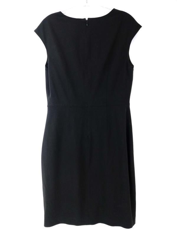 Tahari Black Bernadette Sheath Dress Cap Sleeve with Cut Out Neck Size 8
