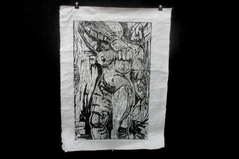 Standing Nude Series I Block Print By Nini Ordoubadi On Recycled Paper 1985