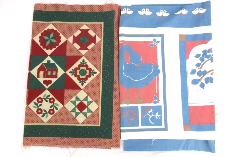 Lot of 5 Vintage Traditional Fabric Pillow Patterns Goose Apples Swans Hearts