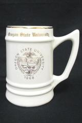 Beer Stein Mug Vintage Oregon State University Bunting Co Seal White & Gold 6""