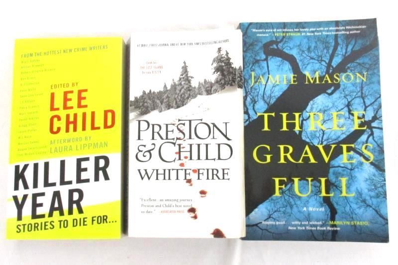 Lot of 3 Mystery Paperback Novels Killer Year White Fire Three Graves Full