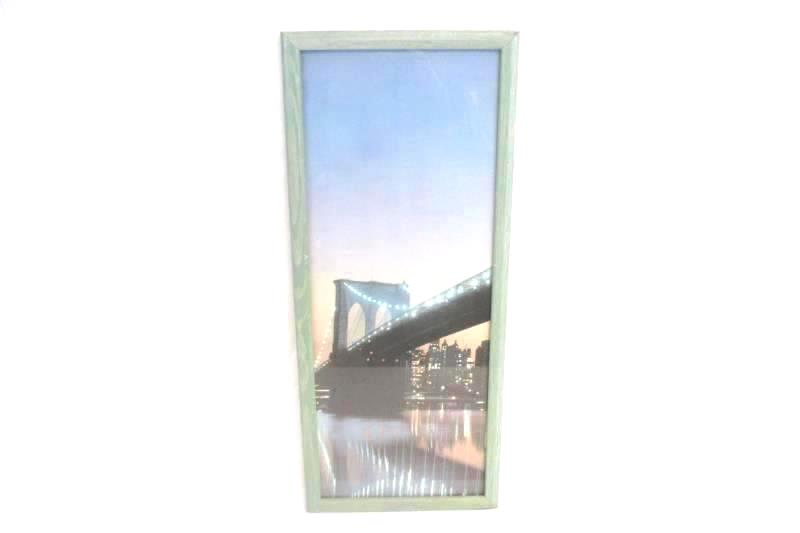 New York City Skyline Twin Towers Brooklyn Bridge Framed Wall Hanging Triptych
