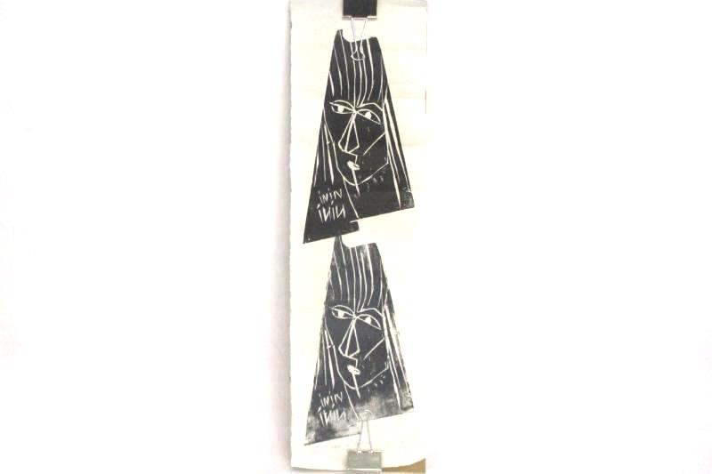Black Ink Female Face Block Prints On Recycled Paper By Nini O Canada Lot Of 3