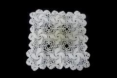 Vintage Hand Crocheted Centerpiece Doily Pinwheel Design Cream Colored