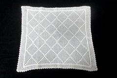 Vintage Hand Crocheted Centerpiece Doily Diamond Design White