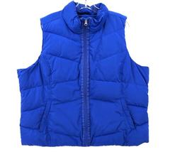 LANDS END Puffer Vest Zip Up Blue Down Quilted Womens Plus Sz 2X (20W-22W)