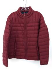 TOMMY HILFIGER Packable Down Jacket Quilted Dark Red Full Zip Men's Sz Large