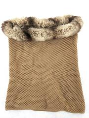 Badgley Mischka Tan Cowl Knit Scarf Wool Blend with Faux Fur Trim O/S