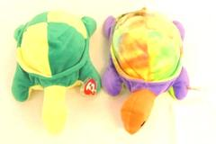 Lot of 2 TY Beanie Pillow Pals Snap Turtle 1996 and 1998 Plush Tie Dye With Tags