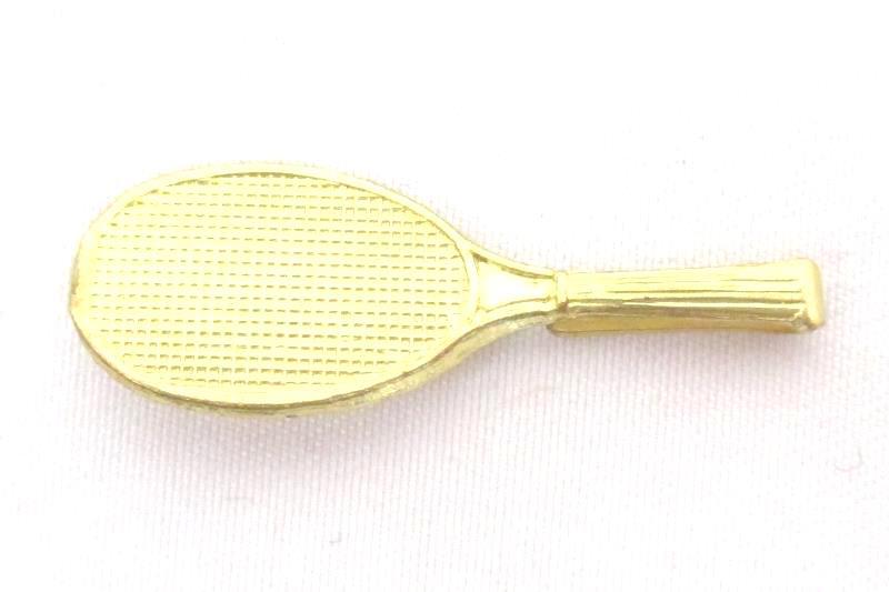 Vintage Men's Gold Tone Tie Clip Tennis Racket Squash Badminton Tack
