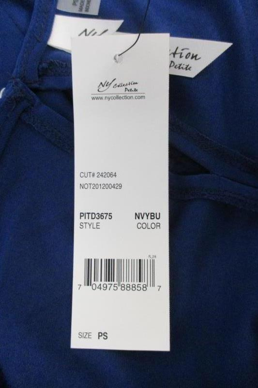 NY Collection Petite Women's Blue Tie Front Dress Career Stretch Sz PS With Tags