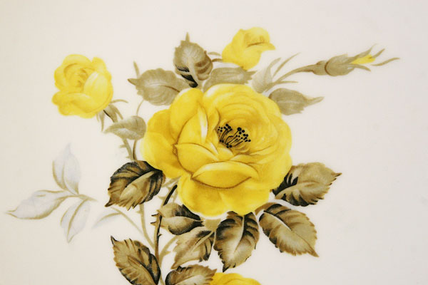 Decorative Plate Yellow Roses Cotillion by Japan Wall Deco Gold Trim