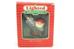 Vintage Hallmark Keep On Glowin Lighted Ornament Elf and Pinecone 1986