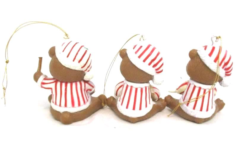 Lot of 3 Vintage Bear Ornaments Plastic White Red Striped Holiday Tree Decor