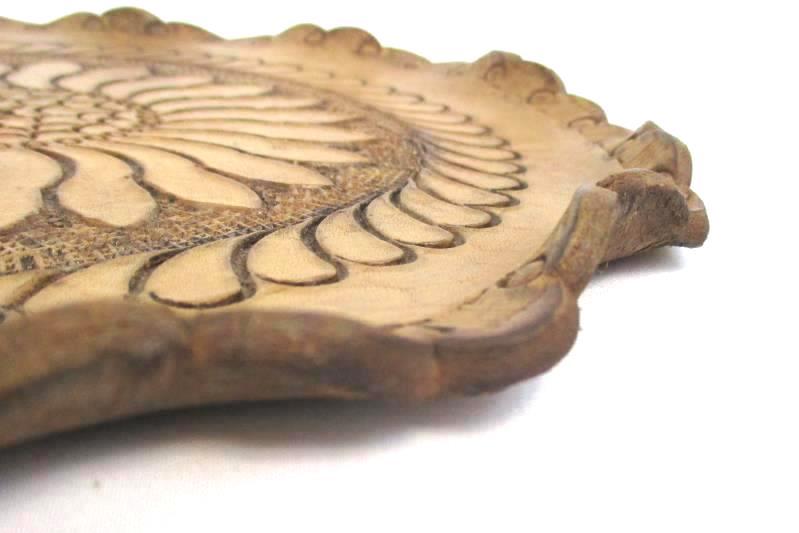 Vintage Hand Tooled Leather Hanging Floral Design 9.5 Inch