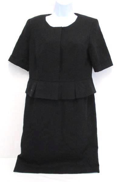 Pendleton Collection Peplum Shift Dress Virgin Wool Black Womens 8