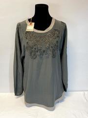 Robert Graham Women's Steele Beaded 100% Silk Top Blouse Grey Small