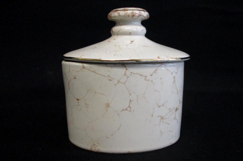 Springs Covered Jar Natural Porcelain Ivory Marbled Gold Trim Lidded Dish Taiwan
