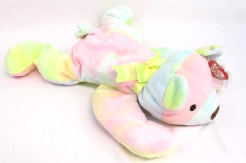 Lot of 2 TY Beanie Pillow Pals Bears 1998 Sherbet 1999 Sparkler Plush With Tags