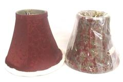 Lot of 2 Clip On Bulb Lamp Shades Dark Red Paisley Bombay For 25 Watt Only