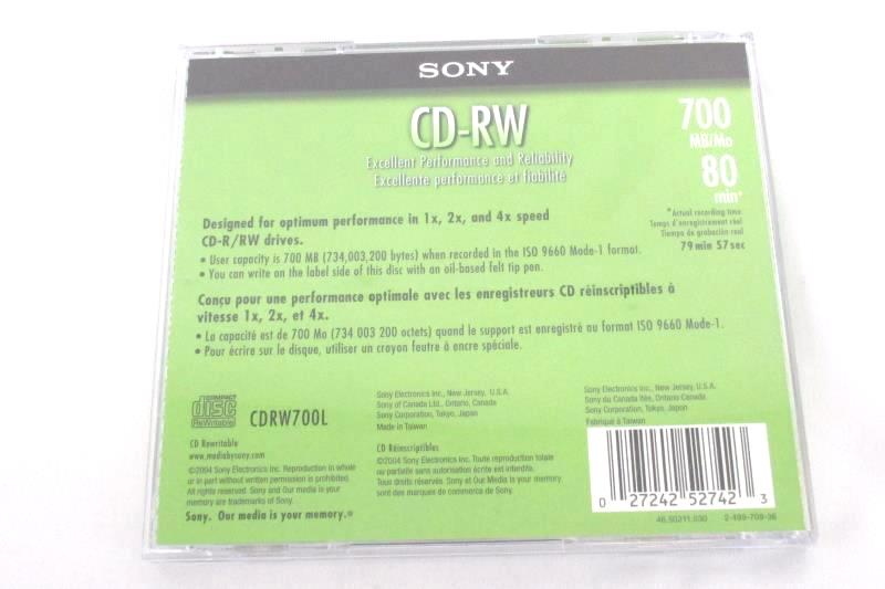 10 Pack of Sony CD-RW Discs 700MB 80Min 2004 Green Box