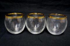 "Lot Of Three 6oz Glasses Gold Rim 2.5"" Tall Clear Shot Elegant"