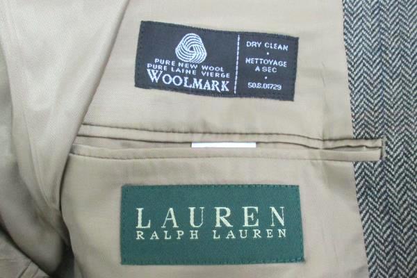 Ralph Lauren Men's Black Tan Herringbone Pure Wool Blazer Suit Jacket Size 42L