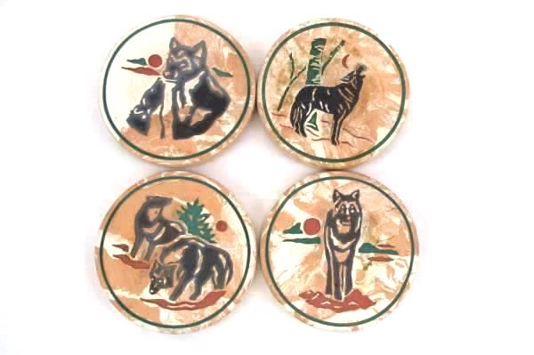 4 Ceramic Cork Back Coasters Round Southwesten Pottery Wolves Wolf Coyote