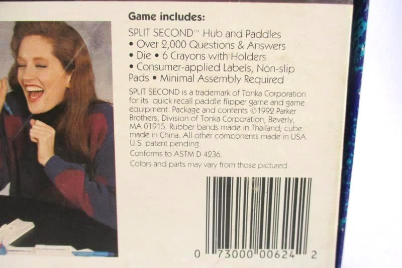 Split Second 1992 Parker Brothers Trivia Board Game Time Action Fast Questions