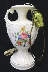 """Vintage Ceramic Urn Trophy Lamp White Pedestal 21"""" Roses Floral"""