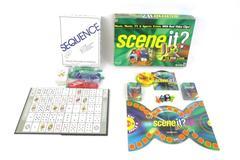 Lot of 2 Family Board Games 2004 Jax Sequence 1991-5 Mattel Scene It? Jr