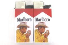 Lot of 2 Vintage Marlboro Man Lighter Tobacco Collectible Cowboy Plastic Block
