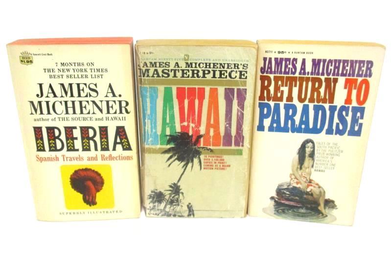Lot of 3 James A Michener Books Iberia Hawaii Return To Paradise Travel Novels
