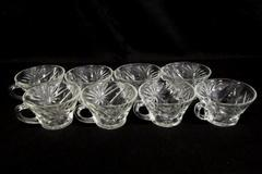 Set of 8 Anchor Hocking Prescut Punch Bowl Cups Clear Pressed Glass Starburst