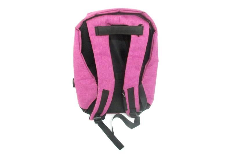Anti Theft Backpack Travel School Business USB Charging Port Magenta Black