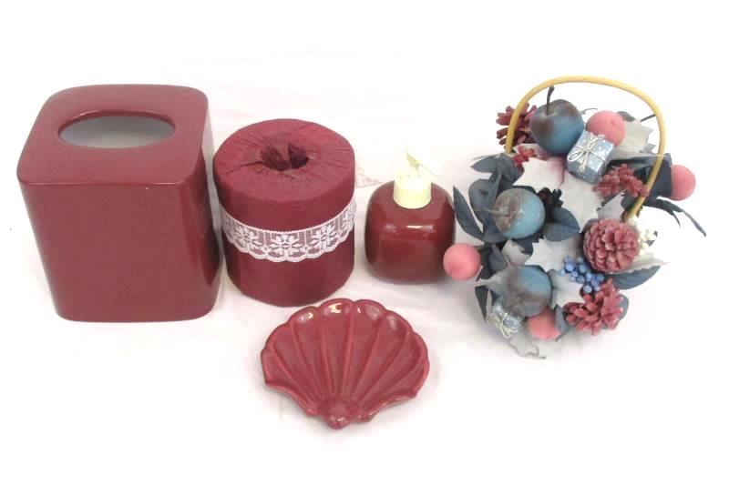 Bathroom Decor Lot Dark Rose Soap Dispenser Tissue Box Dish Floral Deco