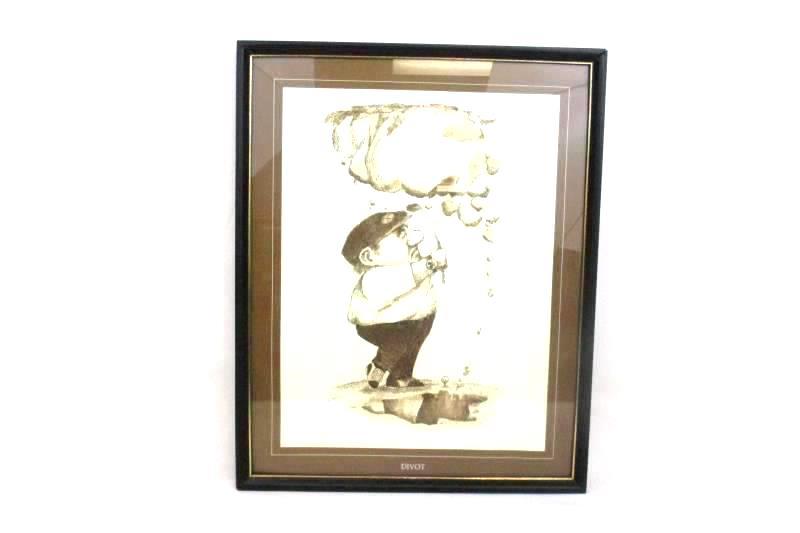 Framed Print Gary Patterson Cartoon Divot Framed 20.25 x 16.5 In Golf Brown