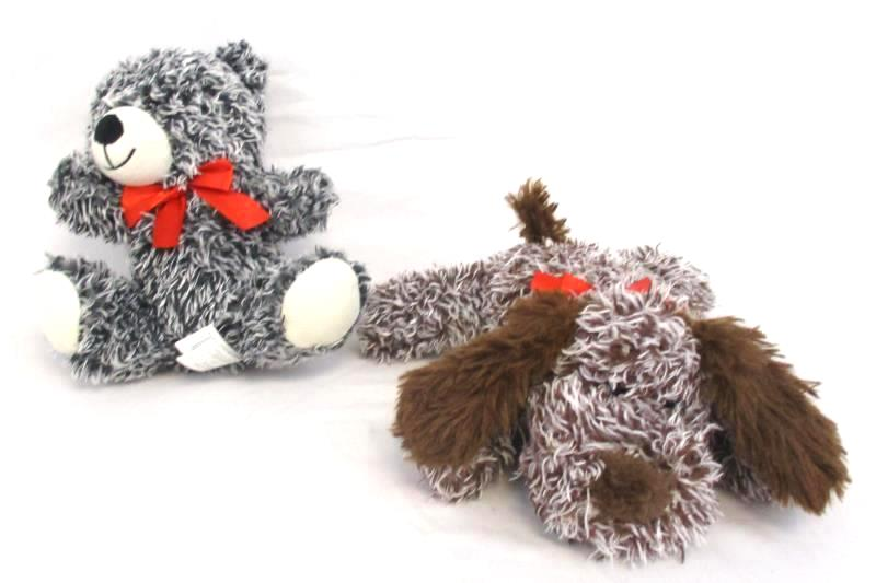 Lot of 2 Best Made Toys Plush Animals Bear and Puppy Dog Heathered Stuffed Toy