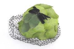 Vintage Women's Bird Cage Veil Headpiece Church Party Hat Green Leaf Design