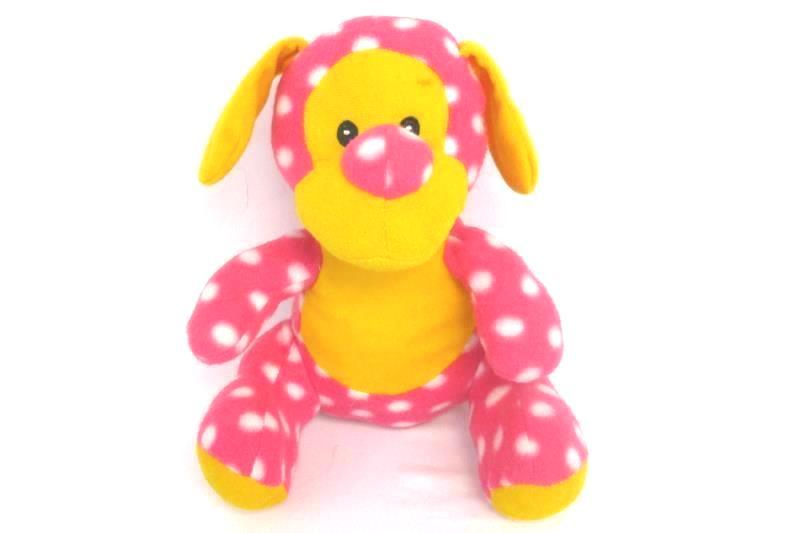 Kellytoy Plush Puppy Dog Stuffed Animal  Pink Polka Dot Orange 2014 14 Inch